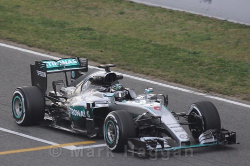 Nico Rosberg in his Mercedes in Formula One Winter Testing 2016