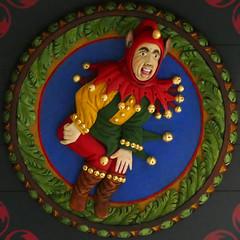 36 Jester (Leo Reynolds) Tags: xleol30x squaredcircle panasonic lumix fz1000 ceiling head medallion wood carving groupfz1000fanclub sqset128 xxx2016xxx