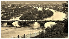 The Bridges of Treveris County (heinrich_511) Tags: cars sepia river view heart bridges processing hl trier mosel treatment moselle thougts treveris gm1