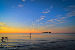 Early Morning Paddle Boarding off Silver Beach (Singing With Light) Tags: summer moon sunrise photography fisherman sony kitlens ct august lifeguard milford silversands 6th lifeguardtower 2015 mirrorless sony16mm28 singingwithlight singingwithlightphotography forttrumbullbeach alpha6000 sonya6000
