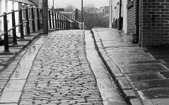Old cobbled land in Durham (Tony Worrall Foto) Tags: county street old city uk england urban wet stream tour open durham place country north rail visit location tourist east rainy lane area northern update cobbles northeast damp attraction relic welovethenorth