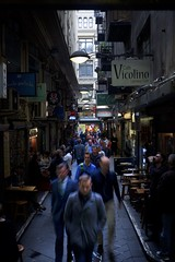 Rush hour II (TonalLuminosity) Tags: blue cafe melbourne lane pedestrians laneway commuters bluestone centreplace