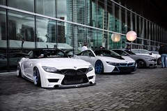bmw on PUR Wheels line up at Vancouver Inernational Auto Show 2016 (MoniqueS Image) Tags: vancouver bmw z4 dub pur widebody i8 bmwi e89 vancouverinternationalautoshow bmwi8 purwheels