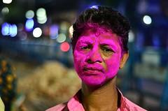 Raghu [Stranger # 07 / 100] (s) Tags: portrait india 50mm colours holi kolkata bengal calcutta raghu kalighat kalitemple 100strangers