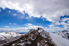 walking on the ridge (Fabio Ghelfi) Tags: friends wild sky snow nature canon rocks wind sigma adventure toscana topoftheworld appennino abetone 100d