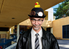 Dr. Bowie arrives at Cleveland Elementary School to deliver his assembly lecture on good mental hygiene (Ash Bowie) Tags: school portrait selfportrait leather idiot nikon goggles tie jacket d750 xavier homage rubberduck chromakey strobist werehere hereios