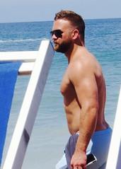 IMG_1107 (danimaniacs) Tags: shirtless man hot sexy guy beach pecs beard muscle muscular beefy trunks swimsuit stud scruff mansolo