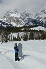 Olsen with his sled 1 (Aggiewelshes) Tags: travel winter snow april snowshoeing wyoming olsen jacksonhole grandtetonnationalpark 2016 gtnp taggartlaketrail