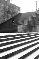 Scale (Francesco Chierchini) Tags: light shadow blackandwhite white man black paris france scale monochrome seine stairs blackwhite stair noiretblanc streetphotography francia lightshadow senna biancoenero parigi