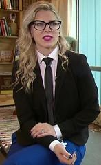 Madalena (bof352000) Tags: woman fashion shirt costume femme tie class suit mode necktie elegance cravate strict chemise businesswoman affaire