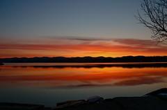 Soul Silhouette (SueZinVT) Tags: tree rock sunrise vermont bluesky silhouete shore orangesky lakebomoseen canon70d suezamecnik