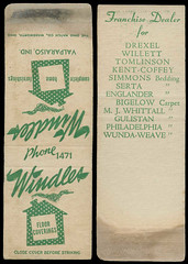 Windles in Valparaiso, Indiana - Matchcover (Shook Photos) Tags: county promotion advertising valparaiso furniture smoke indiana smoking advertisement match flooring matches promotional porter matchbooks furnishings matchbook matchcovers matchcover windles valparaisoindiana