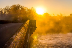 Good morning (Anthony White) Tags: uk morning trees light england sunlight mist misty fog sunrise river golden early spring go sunny frosty nopeople dorset flare gb minster goldenhour wimborne earlyspring riverstour magicallight wimborneminster sonyalpha sunflarephotography roadoverabridge gooldenlight