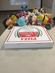 Hurray! The pizza is here! (scotchplainspubliclibrary) Tags: animal stuffed sleepover scotchplains scotchplainspubliclibrary