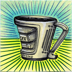 I drew you a forged/milled mug of coffee (bortwein75) Tags: food color colour art coffee illustration pen ink fun flickr drink drawing internet humor beverage mug series oddities highlighters whiteout markers forged postitnote bortwein milled
