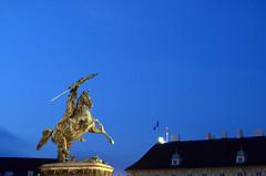 Erzherzog Karl (Wolfgang Binder) Tags: vienna wien city blue light sky horse monument statue night zeiss dark nikon horizon karl rider planar erzherzogkarl planart1450 erzherzog d7000