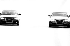Two of a kind l (fxdx, off for a few days) Tags: street bw white black monochrome car contrast mono high highway noir nb p900 minimalism audi blanc