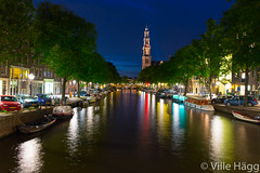 Tower of Westerkerk at Evening (villeah) Tags: bridge house netherlands amsterdam architecture evening boat canal thenetherlands nl attraction westerkerk northholland lightreflections