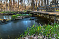 Wooden Bridge, Silky Water (tquist24) Tags: longexposure bridge trees reflection tree water creek reflections bristol landscape geotagged spring nikon stream unitedstates footbridge indiana hdr bonneyvillemillcountypark littleelkhartriver nikond5300