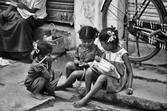 India - Tamil Nadu (luca marella) Tags: life street girls people bw playing film analog children blackwhite asia documentary social bn biancoenero reportage marellaluca