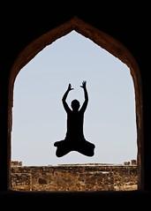Golkonda Jump (Karen Carmen) Tags: india silhouette jump ofme frame myworld hyderabad itsme windowframe thisisme jumpingproject selfie golkondafort peopleinsilhouette justjump
