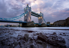Built On Rocks... (JH Images.co.uk) Tags: city bridge sunset london tower architecture clouds rocks tide low riverthames