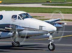 Prop Blur  Beechking (ianclarke8258) Tags: man canon aviation turbo beechcraft propeller avp turboprop manchesterairport kingair av8 600d aviationviewingpark avgeek manchewterrunwayvisitorpark