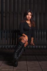 Diana (James Ismert Photography) Tags: portrait woman black sexy stockings girl glamour nikon highheels legs alt gorgeous heels sultry nik lipstick pantyhose nylons blackdress minidress redheels bodycon artisawoman