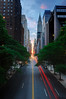 Manhattanhenge from 42nd Street, New York City (ELEMENTOS DO TAROT) Tags: nyc newyorkcity longexposure bridge sunset manhattan tokina1224 chryslerbuilding manhattanhenge 42ndstreet tudorcity photomatix blendedexposures nikoncapturenx nikond90