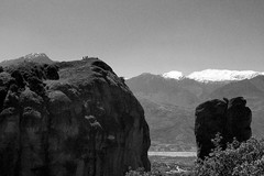 (marianthipostcard) Tags: blackandwhite bw mountains rocks horizon greece meteora unescoheritage