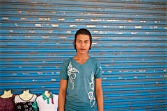 undecided (reinetor) Tags: street blue light shadow portrait color store clothing asia yangon picture shutter 5d myanmar undecided mark3 primelens ef35  f14l2