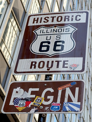 At the beginning (only lines) Tags: chicago sign illinois route66 beginning