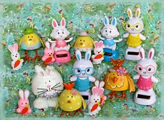 Bring on the Bunnies - & Chicks (dog.happy.art) Tags: rabbit bunny bunnies chickens chicken easter toy toys display chick collection rabbits