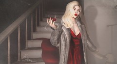 There is no turning back now (Erioxa Sosa is busy) Tags: life photoshop fur wine sassy digitalpainting blogging blonde second layers wacom classy bombshell texturing redgown erioxa