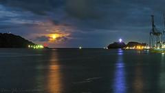 The Gate of Jayapura Bay (Jokoleo) Tags: moon night indonesia bay cross papua jayapura