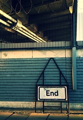 The End Is Near (under the Hammersmith Flyover) (bjg_snaps) Tags: bridge blue urban london sign wire construction gritty barbed
