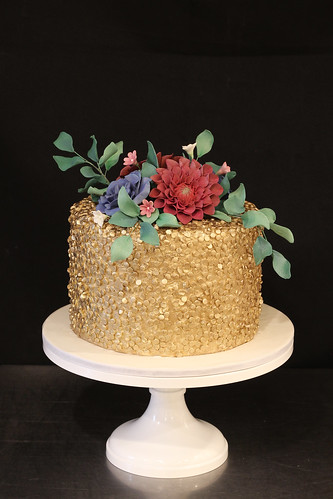 Gold Sequins with Lush Sugar Flowers Spray