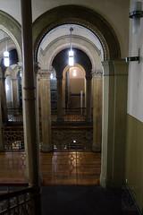 (Nouveau Voyages) Tags: wood berlin stairs kreuzberg germany hall europe arch floor interior pillar lamplight column railing kunstraum bethanien mariannenplatz
