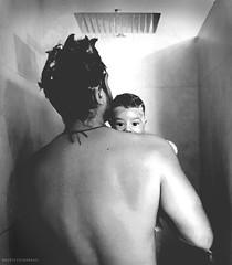 Shower (Mauricio Narea) Tags: chile blackandwhite baby black love 35mm canon fun shower happy nice dad sigma son simply