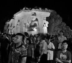 what are they looking at? (SM Tham) Tags: people blackandwhite fountain monochrome outdoors temple buddha buddhist statues buddhism chinesenewyear malaysia grotto nightscene selangor bodhisattvas jenjarom foguangshandongzen