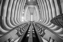 There's a Science Fiction in the Space Between You and Me (Thomas Hawk) Tags: atlanta bw usa architecture america marriott georgia unitedstates fav50 unitedstatesofamerica elevator marquis portman marriottmarquis johnportman fav10 fav25 fav100 atlantamarriottmarquis
