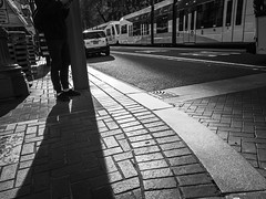 Staying Grounded (TMimages PDX) Tags: road street city people urban blackandwhite monochrome buildings portland geotagged photography photo image streetphotography streetscene sidewalk photograph pedestrians pacificnorthwest avenue vignette fineartphotography phoneography