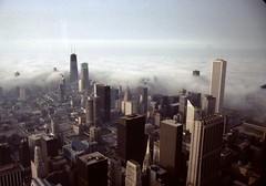 View from Sears Tower - Willis Tower - 1984 (Stabbur's Master) Tags: chicago fog skyline architecture skyscraper searstower lakemichigan johnhancockbuilding chicagoskyline aoncenter standardoilbuilding chicagoarchitecture amocobuilding chicagoskyscrapers willistower