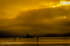 Canadian Coast Guard on duty (Syd Rahman) Tags: new travel canada colors fog sunrise nikon bc iso burrardinlet northvancouver rahman dslr today firstlight followme sydur brithishcolumbia maplewoodflatsconservationarea d7000 nikond7000 canadiancoastguardvessel sydurrahman