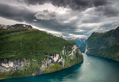 Geiranger (andreassofus) Tags: travel sky nature water norway landscape boat dramatic fjord geiranger travelphotography grandlandscape