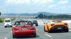 Sports cars (D70) Tags: new 6 cars sports speed motorway engine auckland zealand automatic topless petrol mazda lamborghini coupe 1990 approaching gallardo roadster eunos 2013 lp5604 1597cc 5204cc to596 lqc888