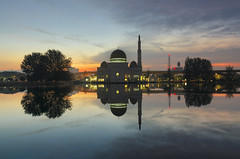 As-Salam Mosque (gilbertchuachian_siong) Tags: park lake reflection building nature water modern sunrise landscape photography nikon asia exposure arch photographer exterior outdoor muslim famous prayer sigma visit mosque explore malaysia destination interest masjid puchong selangor tasik nikond7000 iamnikon photohopexpress