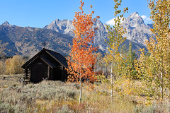 Church Of The Transfiguration In The Grand Tetons (Robert F. Carter Travels) Tags: autumn mountains fall church nationalpark churches wyoming grandtetons nationalparks grandteton mountainscape episcopalchurch grandtetonnationalpark churchofthetransfiguration episcopalchurches