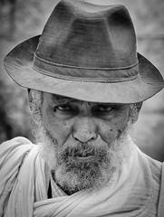 Tigray Man, Ethiopia (Rod Waddington) Tags: africa portrait people blackandwhite man male monochrome hat beard african streetphotography afrika ethiopia ethnic afrique shamma ethiopian etiopia ethiopie tigray adigrat