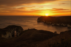 Goalpost Sunrise, Flamborough Head, UK (EmPhoto.) Tags: sunrise goldenhour seaarch eastyorkshire flamboroughhead limestonecliffs redskyinmorning fogsignalstation canon1635mmllens sonya7r landscapepassion northsearushhour